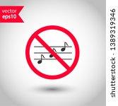 no music icon. forbidden noise... | Shutterstock .eps vector #1389319346