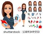 modern young business woman ... | Shutterstock .eps vector #1389349553