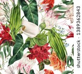 seamless floral pattern with... | Shutterstock . vector #1389362843