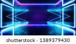 Stock photo sci fi arrows neon futuristic purple blue cold club stage room hall show vibrant virtual reality 1389379430