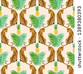 seamless pattern with yellow... | Shutterstock .eps vector #1389380393