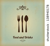 food and drinks over vintage... | Shutterstock .eps vector #138940178