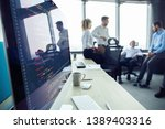 close up of workplace in modern ... | Shutterstock . vector #1389403316