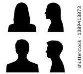 set silhouettes of man and... | Shutterstock .eps vector #1389413873