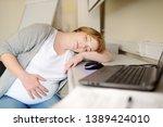 pregnant woman sleeping near...   Shutterstock . vector #1389424010