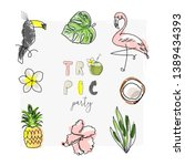 cute tropical set of different... | Shutterstock .eps vector #1389434393