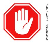 simple red stop roadsign with... | Shutterstock .eps vector #1389437843