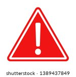 Red Warning Sign With White...