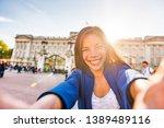 travel selfie vlogger live... | Shutterstock . vector #1389489116
