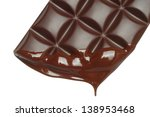 Melting chocolate dripping on white background   - stock photo