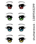 anime eyes. set of colorful... | Shutterstock .eps vector #1389543299