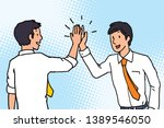businessman giving high five to ... | Shutterstock .eps vector #1389546050