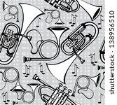 seamless pattern horns on gray... | Shutterstock .eps vector #138956510