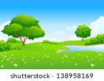 green landscape with lake trees ... | Shutterstock . vector #138958169
