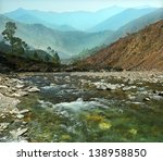 Rapid Flow Of Mountain River...