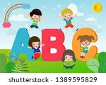 cartoon children with abc...   Shutterstock .eps vector #1389595829