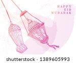 eid mubarak background with... | Shutterstock .eps vector #1389605993