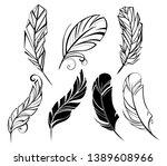 set of monochrome  small... | Shutterstock . vector #1389608966