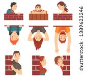people hiding behind brick wall ... | Shutterstock .eps vector #1389623246