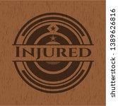 injured retro style wood emblem....   Shutterstock .eps vector #1389626816