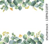watercolor hand painted card... | Shutterstock . vector #1389631859