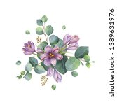watercolor hand painted bouquet ... | Shutterstock . vector #1389631976