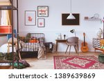 vintage style kids bedroom with ... | Shutterstock . vector #1389639869