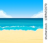 sandy beach with sea waves.... | Shutterstock . vector #1389652070