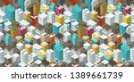 buildings city seamless pattern.... | Shutterstock .eps vector #1389661739