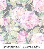 watercolor hand painted peonies ...   Shutterstock . vector #1389665243
