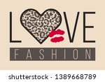 slogan love fashion with... | Shutterstock .eps vector #1389668789