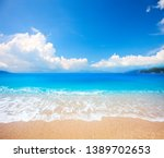beautiful beach and tropical sea | Shutterstock . vector #1389702653