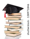 grad hat with books isolated on ... | Shutterstock . vector #138971846