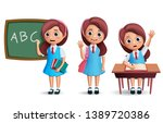 school girl vector character... | Shutterstock .eps vector #1389720386