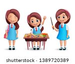 school girl student vector... | Shutterstock .eps vector #1389720389