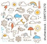 set of weather doodles vector... | Shutterstock .eps vector #1389729170