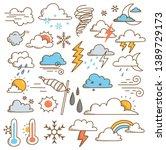 set of weather doodles vector... | Shutterstock .eps vector #1389729173