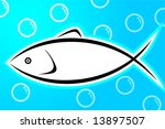 fish in blue background  | Shutterstock .eps vector #13897507