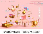 chaos abstract background with... | Shutterstock .eps vector #1389758630