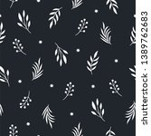 seamless pattern with leaves on ... | Shutterstock .eps vector #1389762683