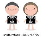 cute cartoon boy and girl with... | Shutterstock .eps vector #1389764729