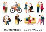 people in love  daiting couples ... | Shutterstock .eps vector #1389791723