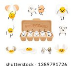 cute egg faces. easter eggs... | Shutterstock .eps vector #1389791726