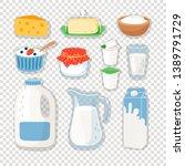 cartoon dairy products. milk... | Shutterstock .eps vector #1389791729