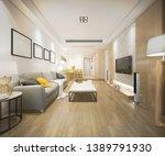 3d rendering modern dining room ... | Shutterstock . vector #1389791930
