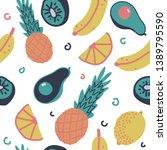 fruit vector seamless pattern...   Shutterstock .eps vector #1389795590
