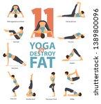 set of yoga postures female... | Shutterstock .eps vector #1389800096