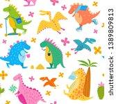 seamless pattern of happy...   Shutterstock .eps vector #1389809813