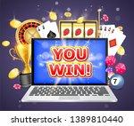 you win casino poster banner... | Shutterstock . vector #1389810440