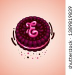 vector brown cookie and pink...   Shutterstock .eps vector #1389819839